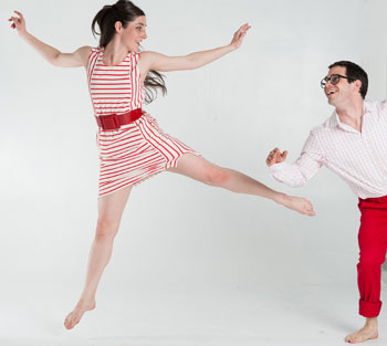 "Doug Elkins Dance troupers have fun with a new comic movement piece, ""Hapless Bizarre."""