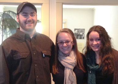 Seniors and Center for Writing tutors (l–r) Mike Kelley, Hillary Smith, Jessica Pierce will be attending the Northeast Writing Center Association's annual conference in March (not pictured, Alex Wolff.)