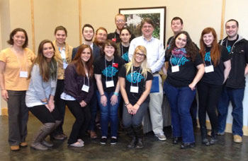 Mentors in Violence Prevention and KSC Champions peer educators at the BACCHUS Conference. (Front row, l–r) Casey Robinson, Heather Leahy, Abby Darin, Kristin Szymkowicz, Virginia Mariolo, Olivia Chiacchia, Nick Garrity (Back row, l–r) Tiffany Mathews, Jennifer Wiemers, Ryan O'Hora, Jacob Richard, Matt McDougal, Emma Bass, Forrest Seymour, Justin Smith
