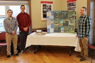 Korey Lubinger, Evan Sage, and Brendan Spina with their plans for Camp Takodah