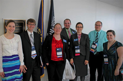 L–R: Kate Ramsey (Shaheen staff), Brian Fanning (UNH), Cynthia Velez (SNHU), KSC alumn Sean Meagher (NHMEA State Editor and Advocacy Chair), KSC Associate Professor Sandra Howard (NHMEA President), NHMEA Executive Director Eric Kobb (Cooperative Middle School in Stratham), and KSC senior music education major Samantha Fowler.