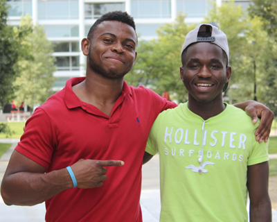 Promise Kpee (left) and Samuel Binogono, looking forward to the challenges of Keene State (photo by Rachael Brucks)