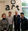 At the Compass School (l–r): Raven Mueller '14, Rick Gordon (director of the Compass School), Associate Professor of Architecture Peter Temple, and Fritz Henning '14.