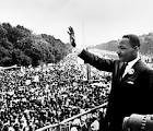"Martin Luther King Jr. addresses a crowd from the steps of the Lincoln Memorial where he delivered his famous, ""I Have a Dream,"" speech during the Aug. 28, 1963, march on Washington, D.C. 