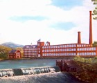Detail from Ellis Barrett's painting of Keene's Faulkner and Colony Woolen Mill