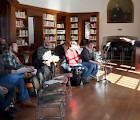 Composer David Rakowski sharing his craft with composition students in the historic Eugene Savidge Memorial Library at the MacDowell Colony (Jonathan Gourlay photo)