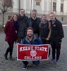 "KSC's powerful presence in Poland: Dr. Vincent with five KSC juniors studying at Jagiellonian (from February–June). From left to right: Katherine ""Kat"" Marren, Tanner Semmelrock, Dr. Vincent, Olivia Conner, and Kayla Magan. Holding the banner is Dylan Renner.  Kat, Tanner, Kayla, and Dylan are HGS majors; Olivia is a minor in HGS majoring in sociology."