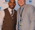 "John Tyranski (right) with retired NFL player, Tiki Barber at Cumulus Media's ""Big Game Party"" at Best Buy Theater in NYC.  This event gathered Cumulus-NY radio listeners, clients, and industry professionals for a pre-super bowl event."
