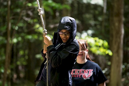 SUMO (Summer Momentum) students on the ropes course at Camp Takodah. Photo by Will Wrobel.