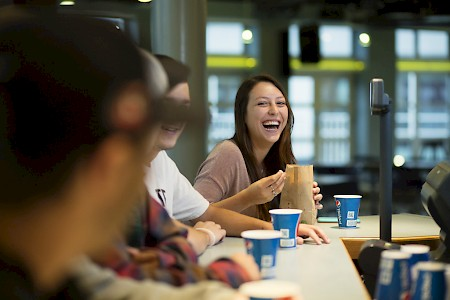 Students enjoy sodas, popcorn, and a laugh at the Night Owl Cafe. Photo by Will Wrobel.