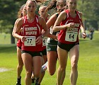 Kait Wheeler '15 (front left) and Sammy Goldsmith '15 (front right) at a cross country competition.