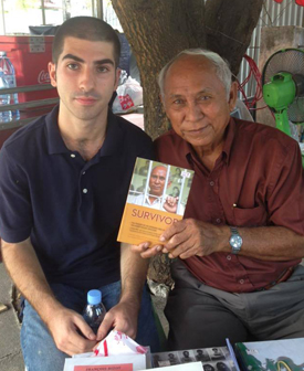 Alex Habibi '15 in Cambodia with Lok Chum Mey, author and survivor of the genocide under the Khmer Rouge in the 1970s.