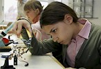 Young girl doing science project