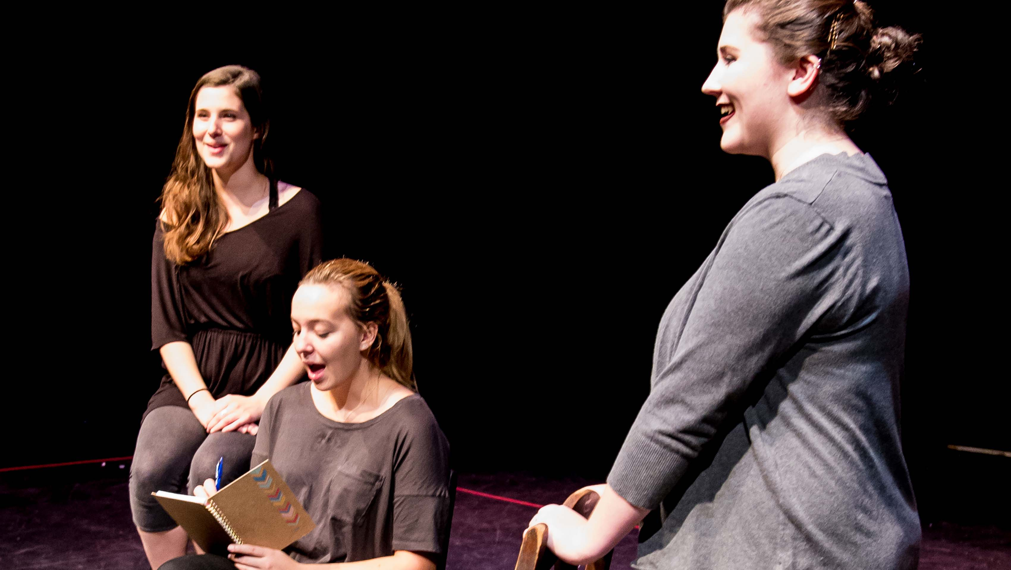 KSC students (from left) Heather Hunt, Emily McIntyre and Amy Lesieur perform the title roles in