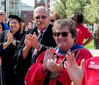 Keene State President Anne Huot clapping in our new first-years
