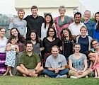Dr. Gebauer and her students in Nepal with Siena Fleischer, a USAID officer and the daughter of Keene State professor Len Fleischer. (Front row, l–r) Brenden Jones, James Spineti, Mary D'Orvilliers (middle row, l–r) Courtney Dillon, Alli Sweeney, Hannah Rettig, Inja Diamond, Rose Lovett, Hannah Sousy, Olivia Miller (holding little girl) (back row, l–r) Josh Noury, Ben Weidman, Abby Wilcox, Professor of Environmental Studies Renate Gebauer, Krishna Gurung, Dr. Len Fleischer, Siena Fleischer