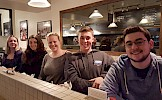 Eating fish n' chips (not poutine?) along Rue McGill in Old Montréal: (l–r) Lisa Shea, Julia Caroza, Madison Thomson, Ezra Richardson, Kyle Ober.