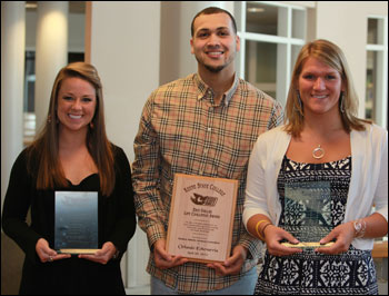 KSC senior awards winners (L-R) Erin Griffin, Orlando Echevarria and Jillian Whitaker