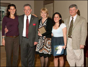 2011 Susan J. Herman Award recipients (center) Therese Seibert, Keene State Professor of Sociology, and Brittney Sousa, Holocaust and Genocide Studies major. Shown with Sarah Herman, Hank Knight and Paul Vincent