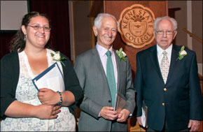 The 2012 Susan J. Herman Award for Leadership in Holocaust and Genocide Awareness recipients (from Left to Right) Danielle Flaherty, Fred Schwartz, and Stephen Lewy.