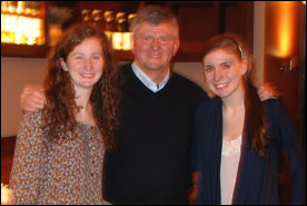 Prof. Paul Vincent with Bridget Love (l) and Megan Olson (r) at a Krakow restaurant.