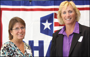 (L) Kathy Flannery, OSHA Consultation Program Supervisor, and (R) Christina Azzarito, Safety Manager for Hans Kissle in Haverhill, MA