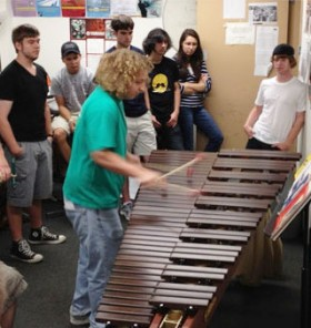 Sophomore and marimba specialist Josh Brennan puts the new instrument through its paces