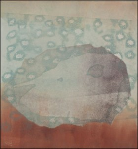 """Holy Ghosts,"" a monotype piece by Erika Radich."