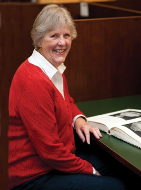 Judy Perry, feeling at home in Mason Library
