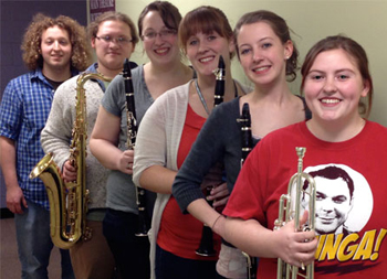 (l–r) Josh Brennan, Gabe Belluscio, Kathryn Lanouette, Alyssa Comeau, Katey Lundstedt, Kirsten Burrows (missing from photo: Sam Irvine, trombone)