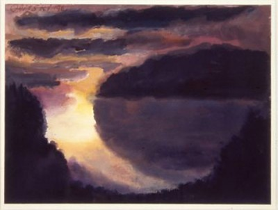 """Eden Cove"" by Jules Olitski, watercolor on rag paper, 1996"