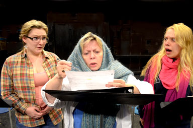 Keene State Theatre actors (from left) Arienne Stearns, PeggyRae Johnson, and Katherine Wadleigh will perform in Thanksgiving by Taylor Jorgensen