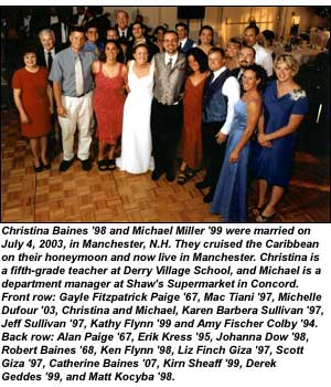Christina Baines '98 and Michael Miller '99 wedding photo
