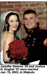 Jennifer Gawron '02 and Joshua N. English '01 wedding photo