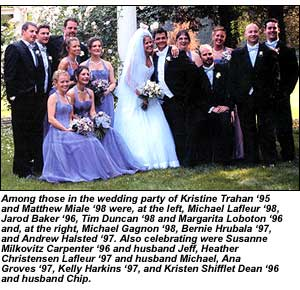 Kristine Trahan '95 and Matthew Miale '98 wedding photo