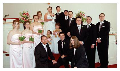 Sara Edwards '04 and Zach Dea wedding photo.
