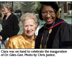 Clara was on hand to celebrate the inauguration of Dr. Giles-Gee. Photo by Chris Justice.