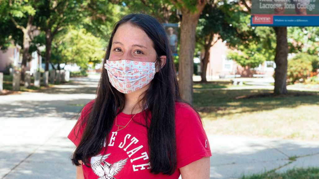 Student with Mask on Appian Way