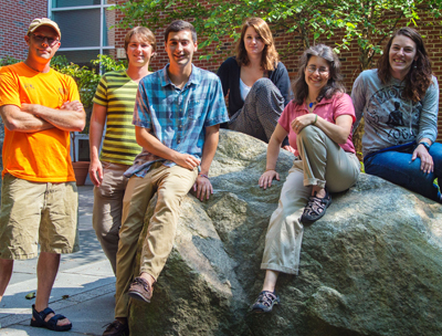 Dr. Burchsted (2nd from right) and her research team (l–r): Charles Stoll, Mike McGuinness, Josh Dallesander, Olivia Thorndike, and Lindsay St. Pierre (Will Wrobel photo)