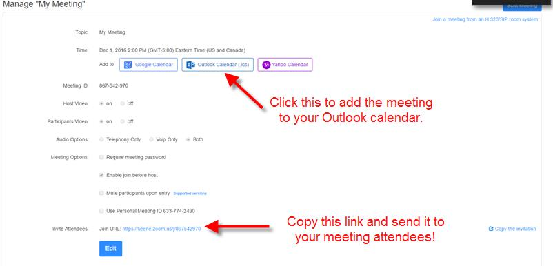 Add to Outlook & link to attendees.