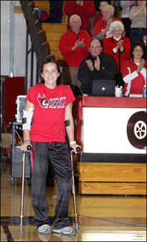 Keene State field hockey player Erin Dallas at Tuesday night's Owls basketball game.