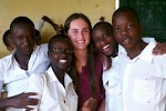 Kelly Christianson with friends in Rwanda