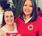 Alyson Schaffrick '15 (right) at her city year graduation with her sorority sister Kelley Meyer '14