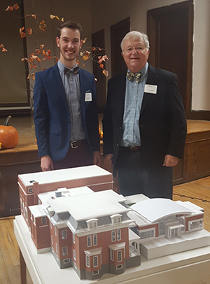 Connor Bell (l) and George Scott with their model of the proposed addition to the Keene Public Library and the Annex (Heberton Hall)