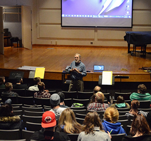 Joseph Schwantner speaking to music students during his recent masterclass