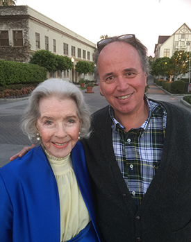 Marsha Hunt and Roger Memos '79 at Paramount Studios, where Marsha got her start in 1935.