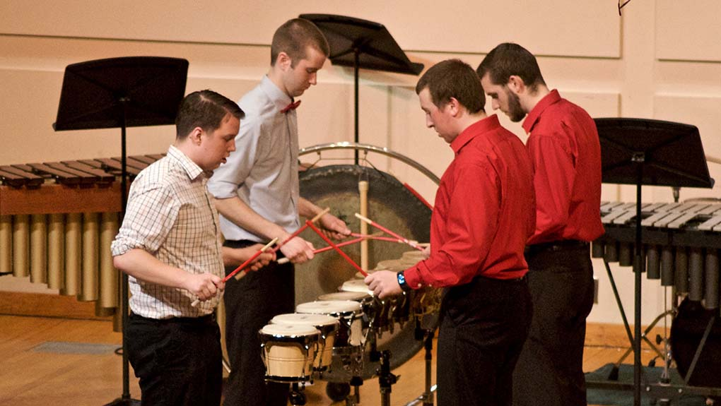 Chris Swist directs the Percussion Ensemble.