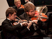 Student string players in KSC Orchestra.