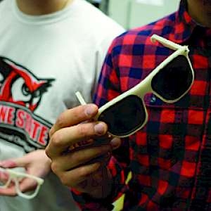 A pair of sunglasses the students made.