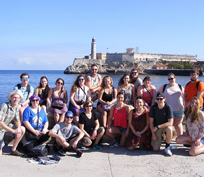 The Keene State travelers in front of Morro Castle along the Malecon in Havana. (First row, l–r): Dr. Cusack, Lisa Donelly, Brendan Felix, Dr. Mullens, Gwen Thayer, Alexandria Sebado, Grant Martineau, Julia Przekaza (second row, l–r): Tyler Chaisson, Samantha Buckler, Lucy Smith, Corinne Colgrove, Cameron Cummings, Kayla Worrall, Ashley Hoffer, Veronica Spadaro, Caitlin Levasseur, Sarah Shufelt, and Joey Hadges.